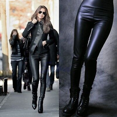 Sexy Women Stitching Stretchy Lady Faux Leather High Waist Leggings Tight Pant