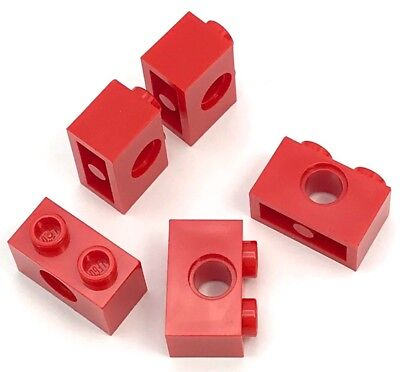 Lego Lot of 5 New Red Technic Bricks 1 x 1 with Hole Pieces