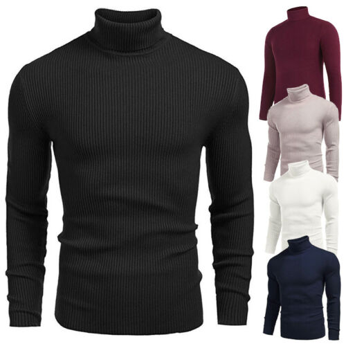 Men Winter Warm Knitted Roll Turtle Neck Pullover Turtleneck Sweater Jumper Tops