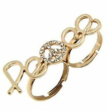 Adjustable gold crystal peace sign double finger ring