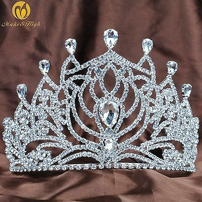 "Angel Tiara Crown 5"" Rhinestones Full Headband Wedding Bridal Pageant Costumes"