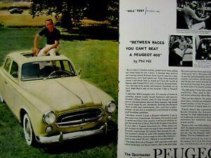 "Phill Hill 1960 Peugeot 403 Test centerfold  Original Print Ad-8.5 x 11"""
