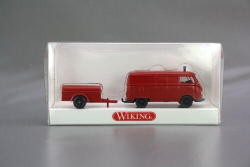 Wiking 1:87 H0 VW T1 Feuerwehr mit Anhänger rot 861 13 29 NEU NOS OVP