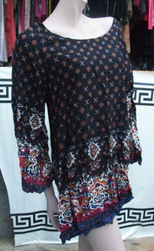 Boho Bnwt Stupenda LoveSoul camicia M nera stile maniche a lunghe Milano I2H9WDE