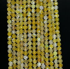 """4MM  AGATE GEMSTONE LEMON YELLOW FACETED ROUND LOOSE BEADS 15"""""""