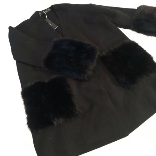 longues Pull avec Coat Zara M Knit manches fourrure et en noire oversize fzqx0Rw