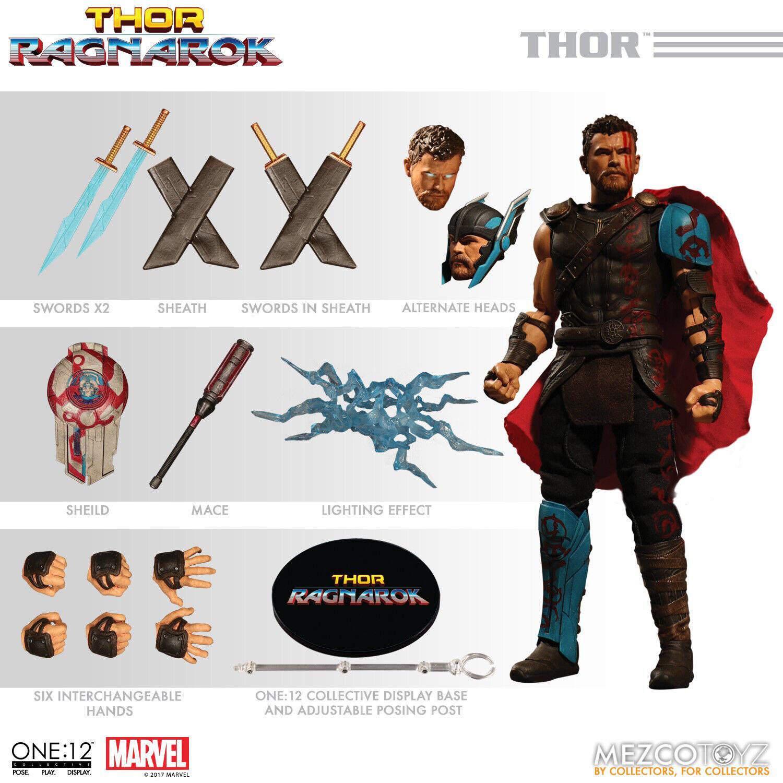 MEZCO One 12 colectivo MARVEL Thor Ragnarok Gladiador figura de acción sin usar, en Caja