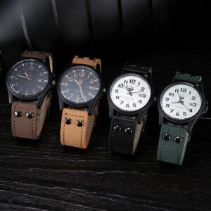 Military-Black-Watch-Quartz-Analog-Army-Men-039-s-Quartz-LEATHER-SILICONE