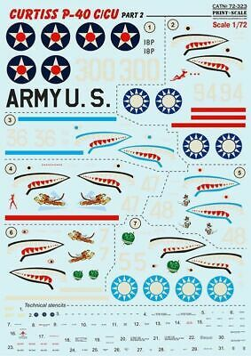 """Print Scale 72-175 Wet Decal For /""""Curtiss P-40 N/"""" Scale 1//72"""