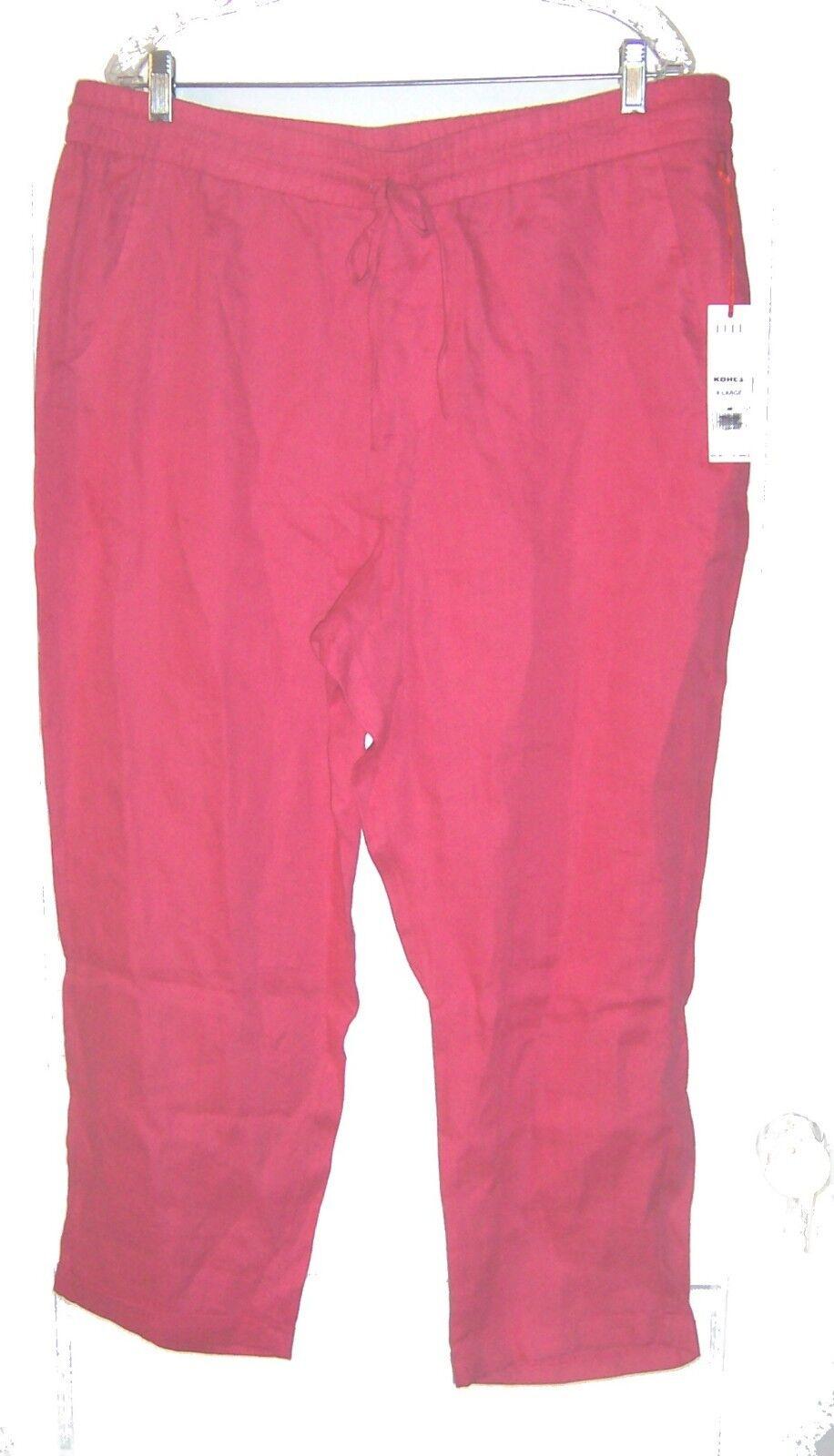 Sz XL - NWT 50 Elle Pink Azalea 100% Linen Capri Pants w Drawstring Waist