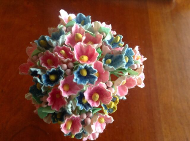 Hair Crown B3 Vintage Millinery Flower Forget Me Not All Blue for Hat Wedding
