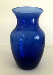"Vintage Cobalt Blue Swirl Pattern Glass Vase 7 7/8"" Tall"