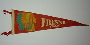 Large-26-034-Vintage-1950s-FRESNO-CALIFORNIA-INDIAN-CHIEF-HEADDRESS-GRAPHIC-PENNANT