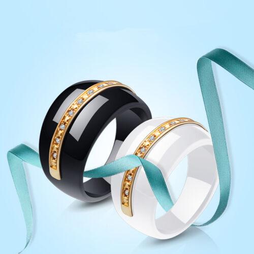 Fashion AAA Zirconia Ceramic Ring Wedding Valentine/'s Day Jewelry Couple Rings