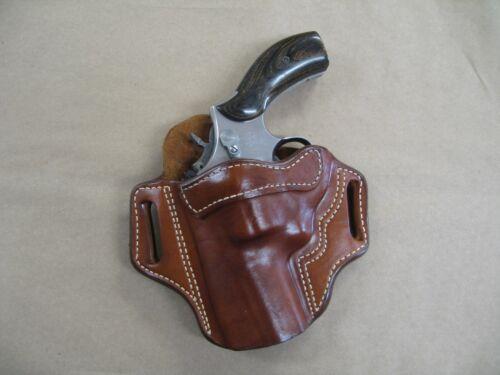 "Colt Python Revolver 2-3/"" Barrel Leather 2 Slot Pancake Belt Holster CCW TAN LH"