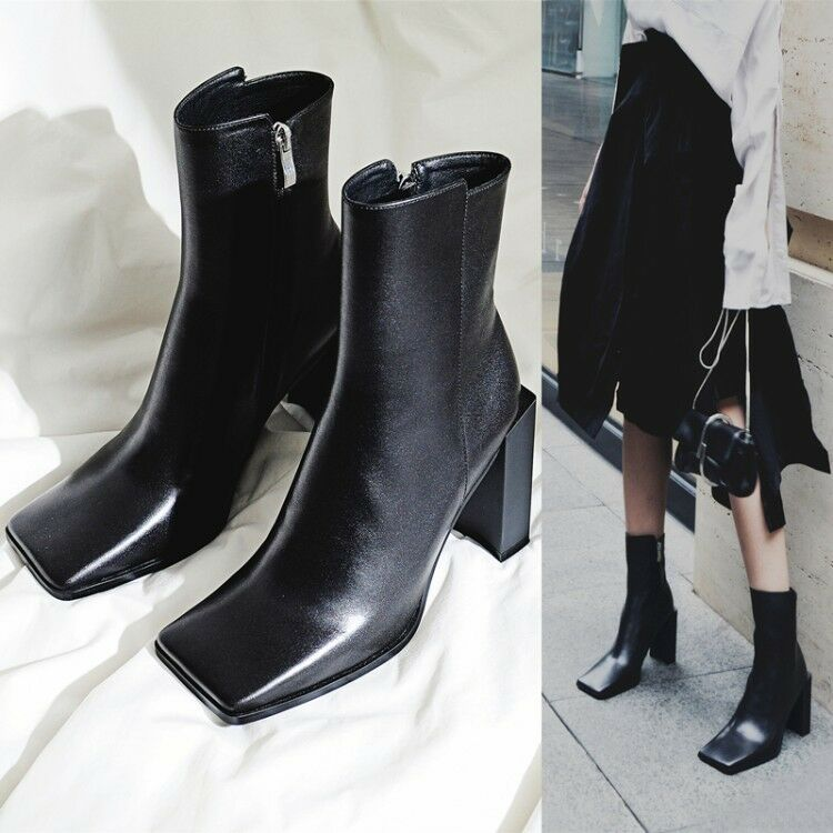 Womens Square Toe Leather zip shoes Ankle high TOp Boots Block Heels Boots SZ