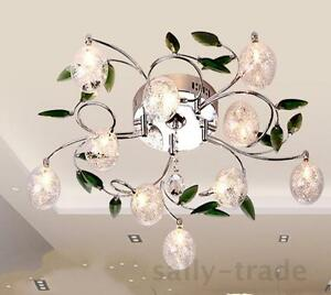 New Leaves Crystal Glass Balls Shade Ceiling Light Pendant Lamp - Chandelier leaves crystals