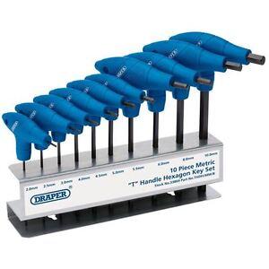 Draper-metricas-T-mango-hexagonal-HEX-ALLEN-KEY-SET-10-Pce-con-soporte-2-0-10-0-mm