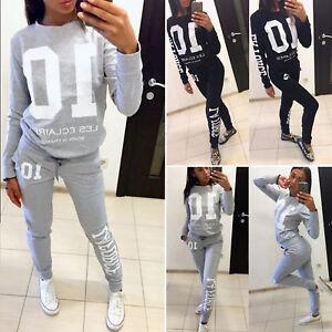 83f5ef3a7e3 Image is loading 2Pcs-Womens-Tracksuit-Hoodies-Sweatshirt-Tops-Pants-Set-