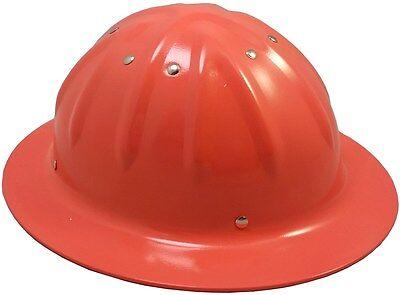 NEW Aluminum Full Brim Hard hat, Metal Orange Wide Brim Hardhat