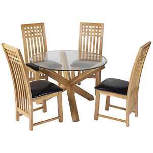 Solid Oak Glass Round Dining Table And Chair Set With 4 Leather Seats