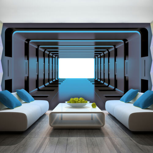 Toile la fresque papier peint papier peint moderne motif bleu tunnel couloir 3fx2799ve