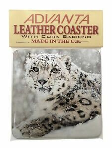 Snow Fall Leopard Single Leather Photo Coaster Animal Breed Gift, AT-56SC