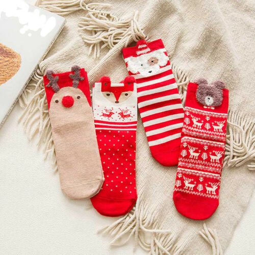 1Pair Women Ladies Soft Warm Cotton Socks Christmas Cartoon Animal Pattern Socks