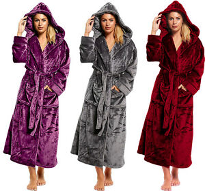 Ladies-Long-Length-Luxury-Shimmer-Fleece-Hooded-Dressing-Gown-NEW-2019-STOCK