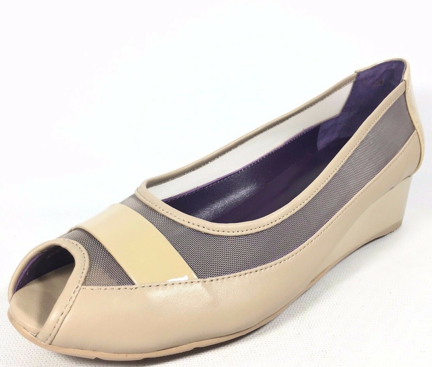 VANELi Purple Collection Valeka Damenschuhe Beige Patent Mesh Peep Toe Sandale Wedge