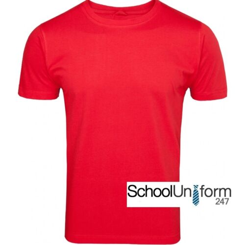Boys Girls Childrens Plain Cotton School PE Sports T-Shirts Red Yellow 10-13 yrs