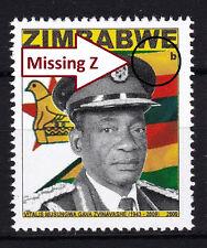 Zimbabwe 2009 Major ERROR 'Missing Z' in Heroes issue, MNH / **