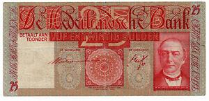 Soigneux Hollande De Nederlandsche Bank 25 Gulden Willem Cornelis Mees 1937 2019 Nouveau Style De Mode En Ligne