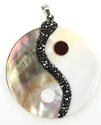 Medaillon Amulett Yin Und Yang, Markasit & Paua Muschel Für Selbsterkenntnis, Feine Verarbeitung
