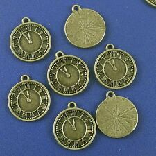 6 x Bronze Clock Pocket Watch Charms Steampunk  - Jewellery Making