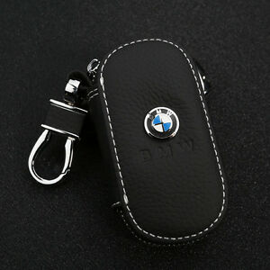 Black-Cowhide-leather-Car-Key-Holder-Keychain-Ring-Case-Bag-Fit-For-BMW-Auto