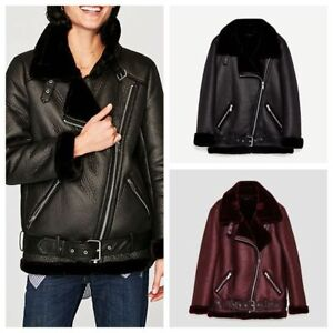 Fashion Ladies Suede Coat Aviator Leather Jacket Winter Coat Fur
