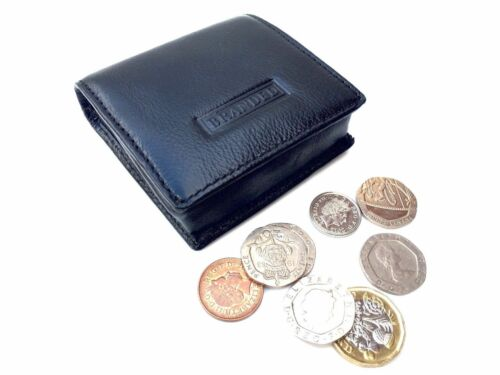 Black Golunski Leather Square Coin Tray with Magnetic Popper