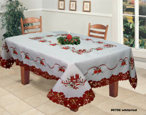 Holiday-Christmas-Poinsettia-Bell-Ornament-Candle-Tablecloth-amp-Napkins-White-Red
