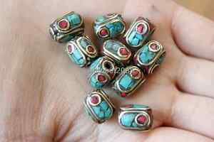 10 PCS Nepalese Metal Brass Cylinder Loose Beads Vintage Spacers Beads (18000091