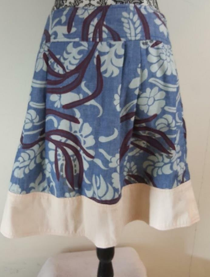Theory Size 10 bluee Floral Pleated Skirt Women's