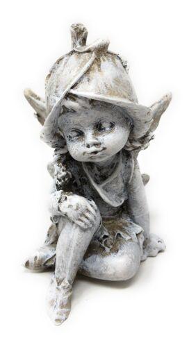 Nostalgie deco personnage Elfe enfant fleur gris motif II