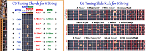 C6-CHORD-amp-SLIDE-RULE-CHARTS-FOR-6-SIX-STRING-LAP-STEEL-GUITAR-2-LAMINATIONS