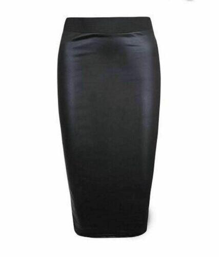 NEW LADIES WOMEN/'S PU LEATHER WETLOOK PENCIL SKIRT BODYCON DRESS PVC TOP LEGGING