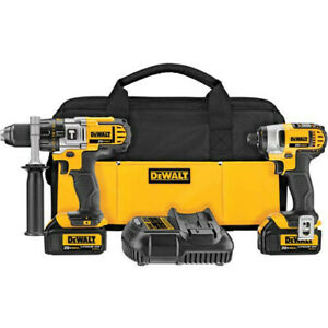 DEWALT DCK290L2 20V MAX Li-Ion 1/2 in. Hammer Drill & Impact Driver Kit New