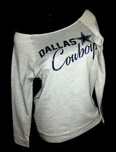 Dallas Cowboys Scoop Neck Heather Gray Raw Edge Terry Lt Wt.Jersey 3/4 Slv. Top.