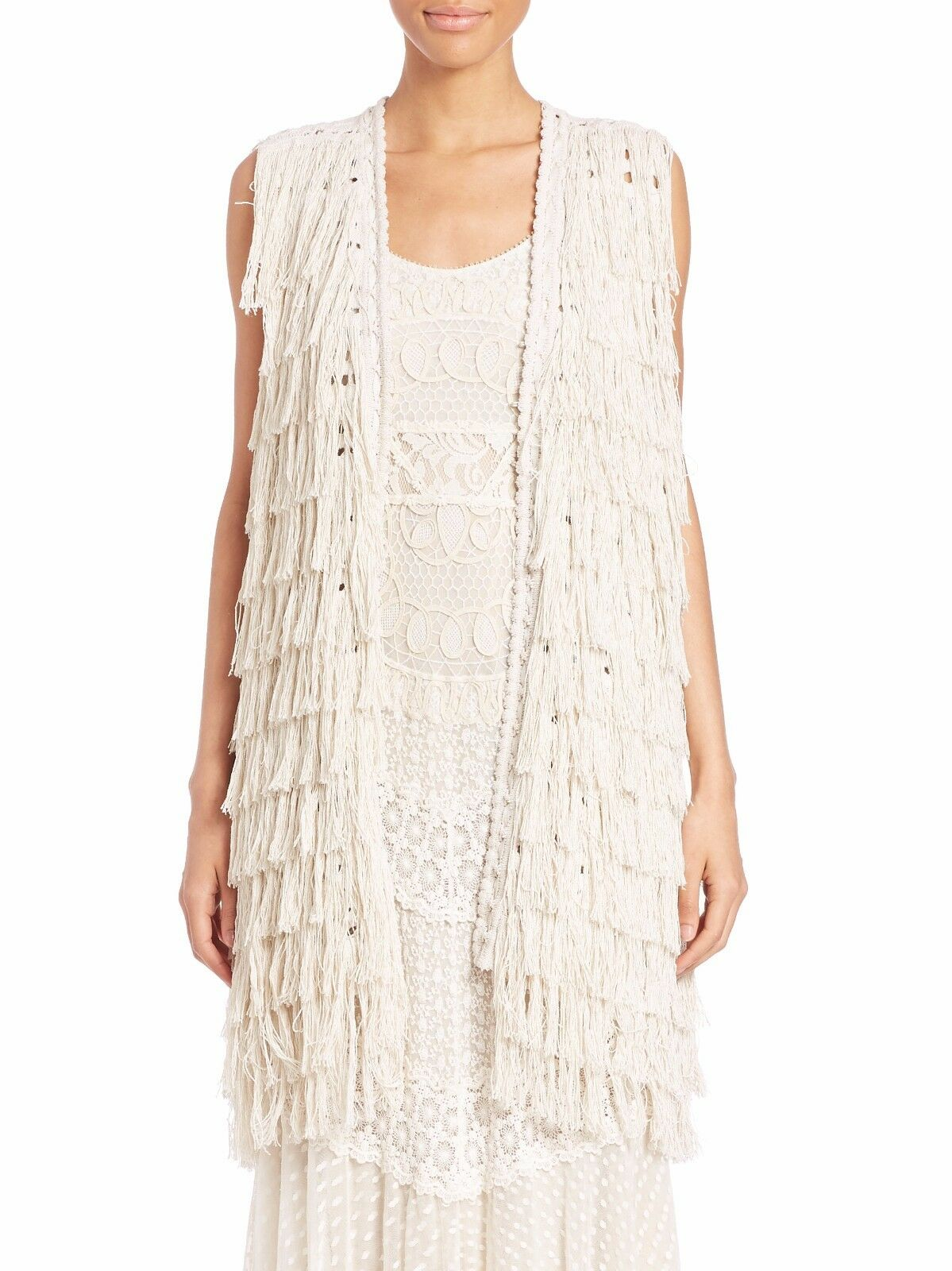 NWT alice + olivia by Stacey Bendet Size Small Weiss Silk Blend Fringe Vest  598