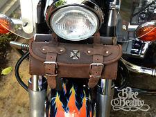 Cross Skull Brown Leather Tool Roll Bag Harley Yamaha Kawasaki Honda Suzuki