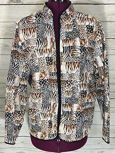 Alfred-Dunner-Leopard-Zebra-Animal-Print-Open-Front-Jacket-Size-14