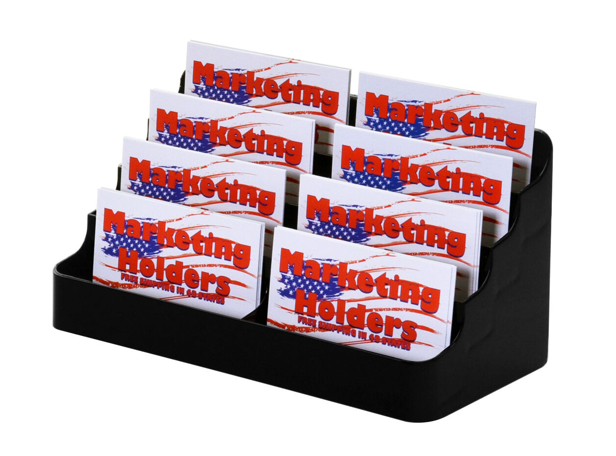 8 pocket Black acrylic business card holder stand FREE SHIPPING ...